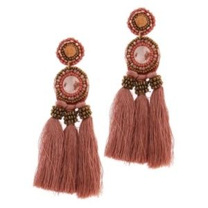 Pink Beaded Tassel Drop Post Earrings Circle